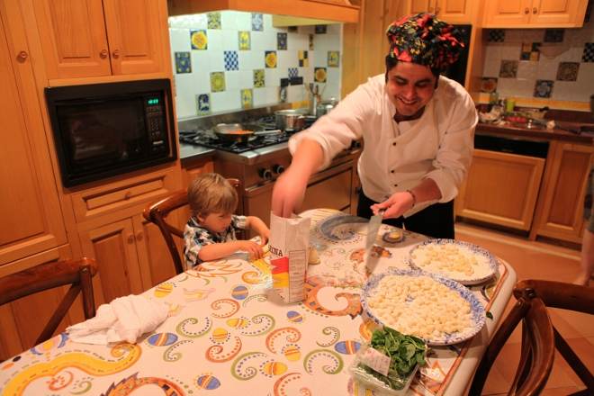 Chef Bebbe and his sous chef make the gnocchi