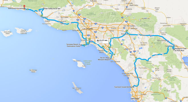Southern California Road Trip Map